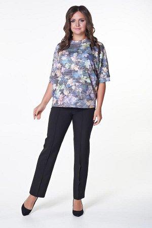 Блузка Андре (цветы) №2.Цвет:черный/сиреневый