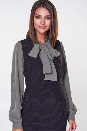 Блузка Эмилия №18.Цвет:оливковый.Цвет:Изящная блуза прямого силуэта из легкой ткани Ниагара. Длинный втачной рукав собран на ман