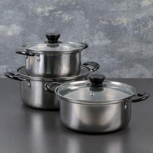 Набор посуды 3 предмета : кастрюли 16/18/20 см со стеклянными крышками, индукция