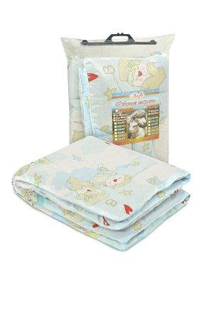 Одеяло Одеяло стёганое детское с наполнением из прочеса овечьей шерсти, утолщенное, плотностью 500 гр/кв.м. Одноигольная стежка, ткань чехла из натурального хлопка, малыш не будет потеть, очень теплое