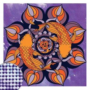 Алмазная вышивка мандала «Рыбки» с частичным заполнением, 20 х 20 см. Набор для творчества