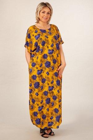 Платье горчичный/синий, Длина платья в 50 размере – 133 см. Состав: 100% вискоза