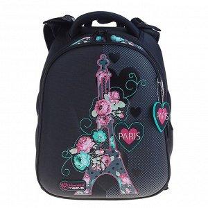 Рюкзак каркасный Hummingbird T 39 х 28 х 20 см, для девочки, «Париж», серый