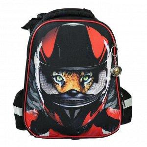 Рюкзак каркасный Hatber Ergonomic 37 х 29 х 17 см, для мальчика, Moto, чёрный/красный