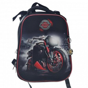 Рюкзак каркасный Hatber Ergonomic 37 х 29 х 17 см, для мальчика, Motors, чёрный/красный