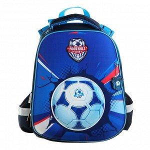 Рюкзак каркасный Hatber Ergonomic 37 х 29 х 17 см, для мальчика, «Футбол», синий