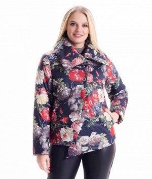 Стильная демисезонная куртка цветочный принт Код: 02 цветы