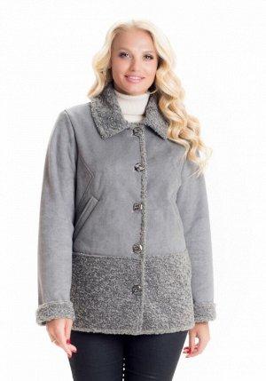 Стильная демисезонная дубленка куртка Код: Д/1 серый