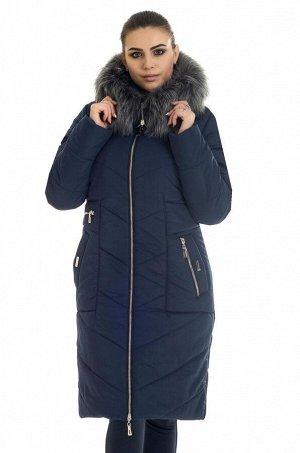 Пуховик женский с искусственным мехом Код: 34 синий. иск. мех