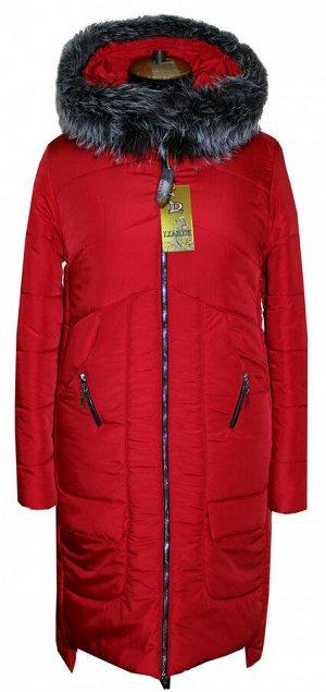 Стильный зимний пуховик Код: 17 красный. мех