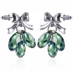 Серьги Серьги зелёные с родиевым покрытием с кристаллами S*W*AROVSKI