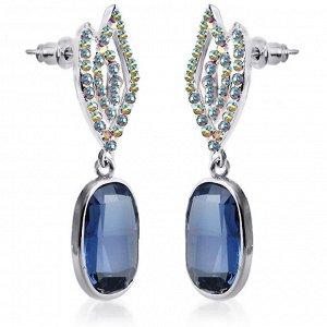 Серьги Серьги синие с родиевым покрытием с кристаллами S*W*AROVSKI