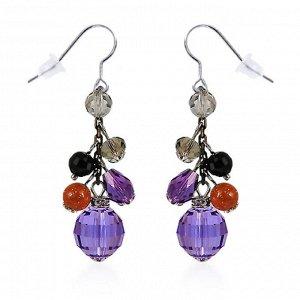 Серьги Серьги фиолетовые с родиевым покрытием с кристаллами S*W*AROVSKI