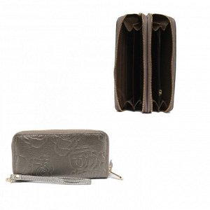 Кошелек женский натуральная кожа 911-2,  на 2 молнии+ручка/петля,  7отд+8карм,   (внутри иск/к)  роза,  серебро 221858