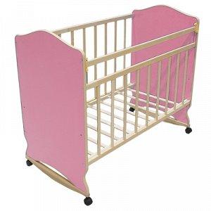 Детская кроватка «Морозко» на колёсах или качалке, цвет розовый