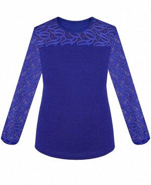 Синяя блузка для девочки с гипюром 77525-ДНШ19