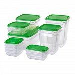 ПРУТА,Набор контейнеров, 17 шт., прозрачный, зеленый