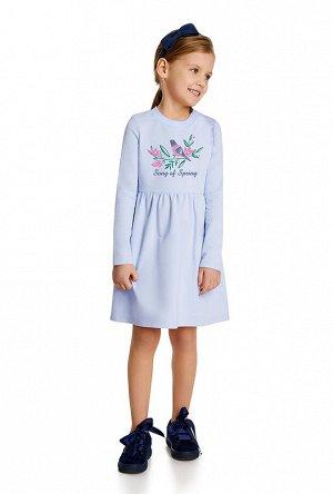 Платье Беларусь; 92% хлопок 8% лайкра; небесный ; Платье на девочку из хлопкового трикотажа найвысшего качества пенье, с отрезной юбкой и принтом по переду. Трикотаж