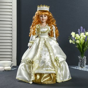 """Кукла коллекционная керамика """"Принцесса-ангел в белом платье с золотой отделкой"""" 45 см"""