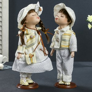 """Кукла коллекционная парочка поцелуй набор 2 шт """"Поцелуй в белом наряде"""" 30 см МИКС"""