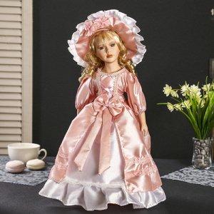 """Кукла коллекционная керамика """"Леди Аннет в розовом платье с корсетом"""" 40 см"""