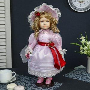 """Кукла коллекционная керамика """"Ариадна в розовом платье и шляпке"""" 40 см"""