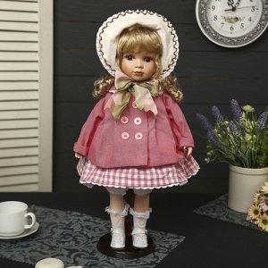 """Кукла коллекционная керамика """"Малышка Тася в пальто и шляпке"""" 45 см"""