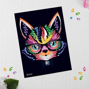 Мозаика стразами «Кот в очках»