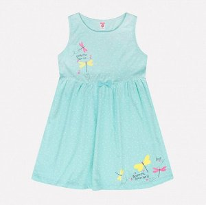 Платье для девочки Crockid К 5520 маленький горошек на антильском голубом
