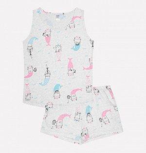 Комплект для девочки Crockid КБ 2602 кошечки-русалки на меланже