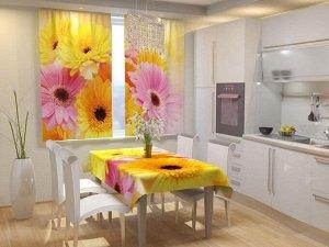 Герберы Фотошторы для кухни из габардина смогут украсить любой интерьер, добавить яркости, свежести и поднять настроение.    Фотошторы для кухни (145х160)*2;