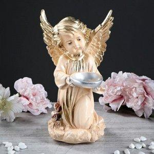 "Статуэтка ""Ангел с чашей"", бежевая, 33 см"