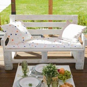Подушка на трехместную скамейку Треугольники, 45?150 см, репс с пропиткой ВМГО, 100% хл