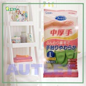 """ST """"Family"""" Перчатки для бытовых и хозяйственных нужд, средней толщины, размер L (зеленые)"""