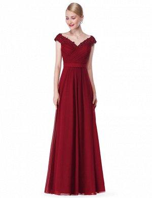 ..Элегантное бордовое длинное вечернее платье