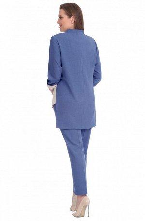 Костюм Костюм Linia-L А-1579 синий/молочный  Сезон: Весна-Лето Рост: 164  Повседневный текстильный 3-х предметный комплект, состоящий из жакета, блузки и брюк. Жакет прямого силуэта с разрезами в бок