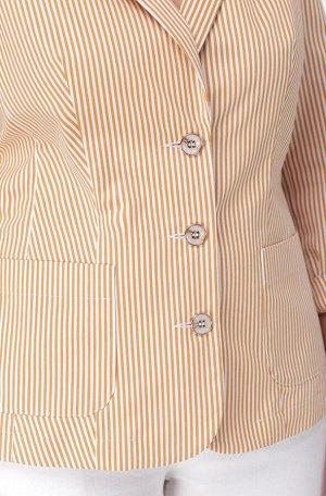 Жакет Жакет Linia-L А-1665 полоска  Состав: ПЭ-28%; Спандекс-2%; Хлопок-70%; Сезон: Осень-Зима Рост: 164  Повседневный жакет полуприлегающего силуэта. Рукав втачной, длиной три четверти, с отложной м