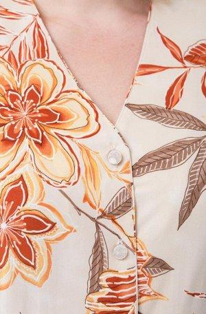 Костюм Костюм Linia-L А-777 желто-оранжевые цветы  Состав: ПЭ-100%; Сезон: Весна-Лето Рост: 164  Повседневный трикотажный костюм состоящий из жакета и юбки. Вырез горловины V-образный. Застежка на пе