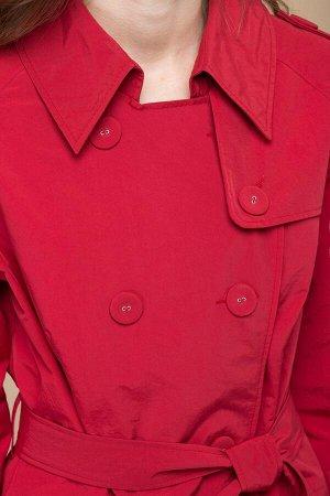 Пальто Пальто Linia-L Б-1185 красное  Состав: Нейлон-100%; Сезон: Весна-Лето Рост: 164  Пальто женское полуприлегающего силуэта на подкладке. Рукав реглан длинный. Спереди талиевые вытачки, карманы с