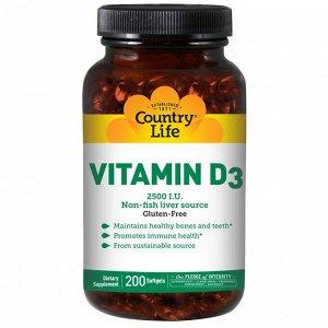 Country Life, витамин D3, 2500 МЕ, 200 мягких желатиновых капсул