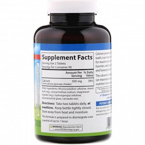 Carlson Labs, Хелатный кальций, 500 мг, 180 таблеток