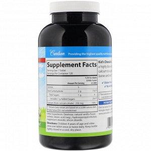 Carlson Labs, Жевательные таблетки с кальцием для детей, с натуральным ванильным вкусом, 250 мг, 120 таблеток