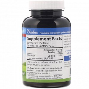 Carlson Labs, Витамин D3, 1000 МЕ (25 мкг), 250 мягких таблеток