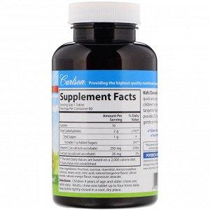 Carlson Labs, Жевательный витамин С для детей, с натуральным вкусом мандарина, 250 мг, 60 вегетарианских таблеток