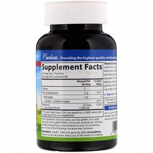 Carlson Labs, Vitamin D3 Gummies, Natural Fruit Flavors, 25 mcg (1,000 IU), 60 Gummies