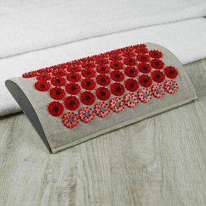 Массажёр-аппликатор «Тибетский валик», для шеи и поясницы, с магнитами, цвет красный