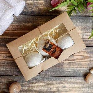 """Набор """"Добропаровъ"""" из 3 бурлящих шариков (ваниль, персик, миндаль) с наполнителем в коробке"""