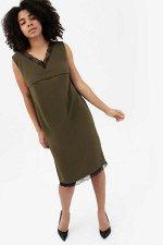Платье с кружевом хаки для беременных и кормящих