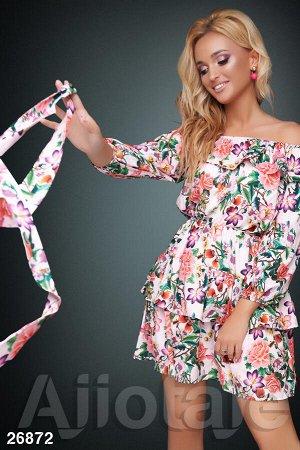 Платье мини с цветочным узором