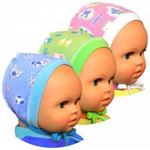 Чепчик Цвет: Микс; Материал: кулирное полотно; Модель: на рибане; Состав: 100% хлопок Описание Чепчик для новорожденного на рибане, выполнен из легкого трикотажного полотна.